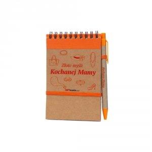 Notes i długopis eco z nadrukiem Złote myśli Kochanej Mamy - kolor pomarańczowy