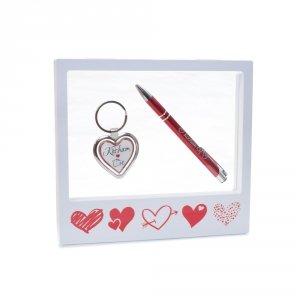 Ramka z okienkiem - zestaw prezentowy - brelok żelowy, długopis