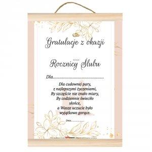Dyplom gratulacje z okazji ... rocznicy ślubu.  Dla cudownej pary, z najlepszymi życzeniami, by szczęście nie znało miary...
