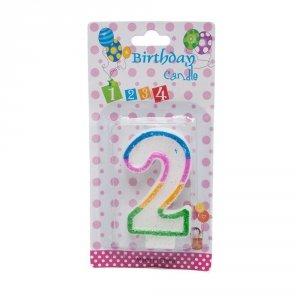 Świeczka cyferka urodzinowa z brokatem 2