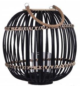 LAMPION CZARNY WIKLINOWY DUŻY 31x31x37 cm