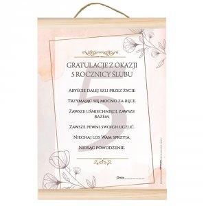 Dyplom gratulacje z okazji 5 rocznicy ślubu. Abyście dalej szli przez życie trzymając się mocno za ręce...