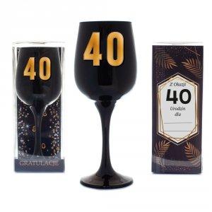 Kieliszek urodzinowy do wina czarny w ozdobnym opakowaniu - Z Okazji 40 Urodzin dla...