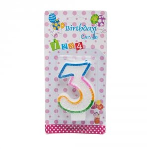 Świeczka cyferka urodzinowa z brokatem 3