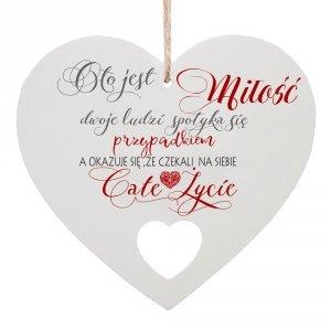 Drewniana tabliczka w kształcie serca O to jest miłość...