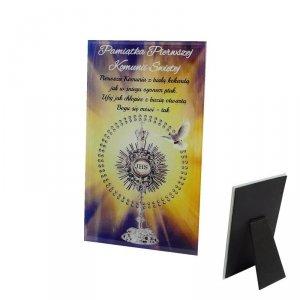 Ramka szklana Pamiątka Pierwszej Komunii Świętej, druk UV wzór 2
