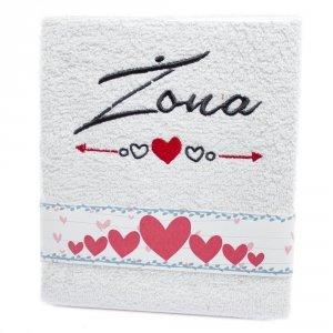 Ręcznik haftowany  ŻONA , kolor biały