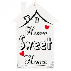 Drewniana tabliczka domek wzbogacona lakierem UV z napisem Home Sweet Home