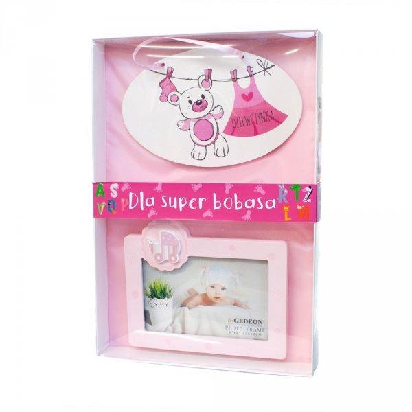 """Zestaw tabliczka + ramka na zdjęcie dla dziewczynki z napisem """"Dla super bobasa"""""""