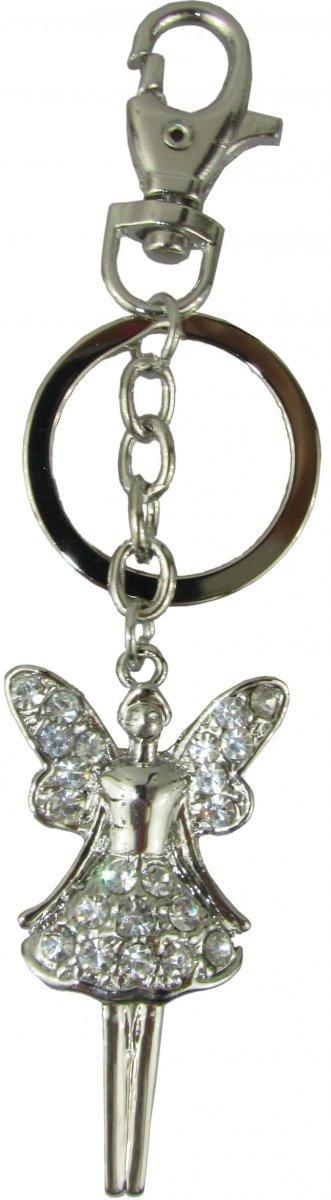 Metalowy breloczek - anioł z kryształkami, z dodatkowym zapięciem. Wymiary bez kółka: 5,5x3cm.