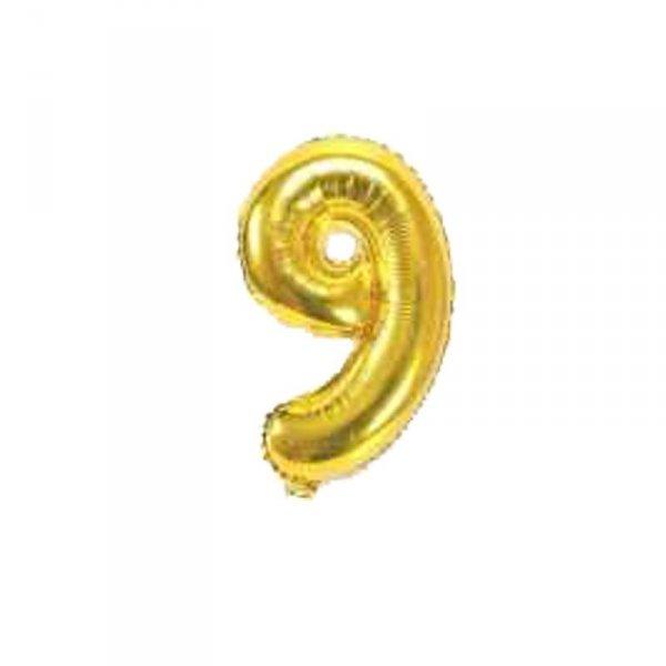 Cyfra dmuchana nr 9, złoty, 100 cm
