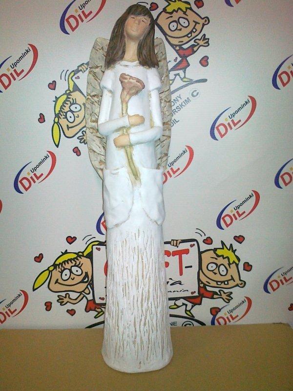 Anioł gipsowy KIESZONKOWIEC Z RÓŻĄ, kolor biały. Wysokość 40 cm