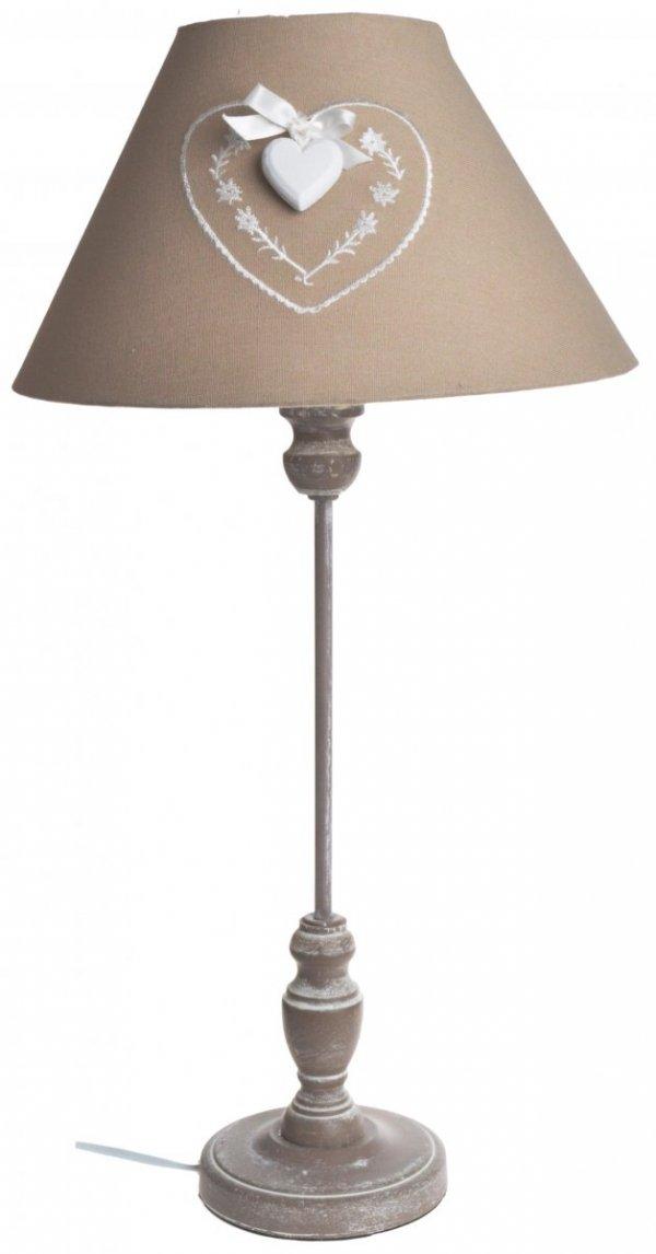 BEŻOWA LAMPA Z ABAŻUREM Z SERCEM 25.5X25,5X60CM