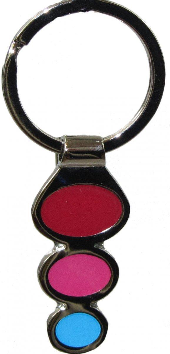 Metalowy breloczek - kolorowe kółeczka. Wymiary bez kółka: 5x2cm.
