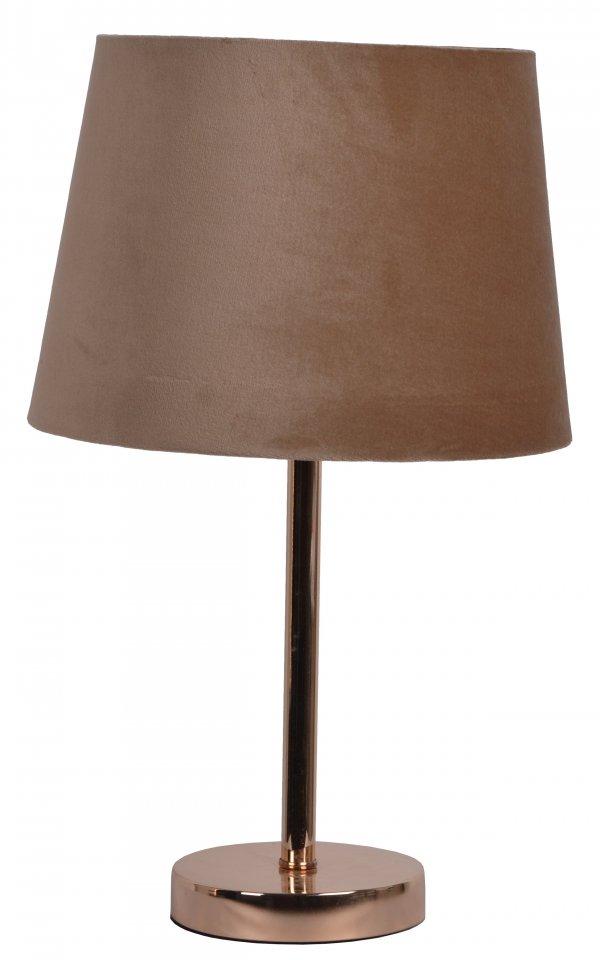 LAMPA METALOWA ZŁOTA Z WELUROWYM BRĄZOWYM ABAŻUREM 25x25x41 cm