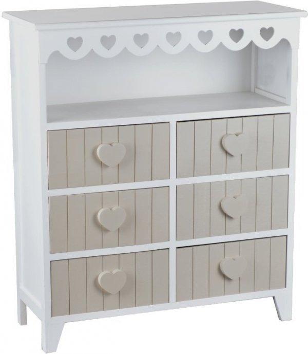 Szafka - komoda wyższa, drewniana z sercami w kolorze białym z 6 beżowymi szufladami. Mebel wolno stojący.