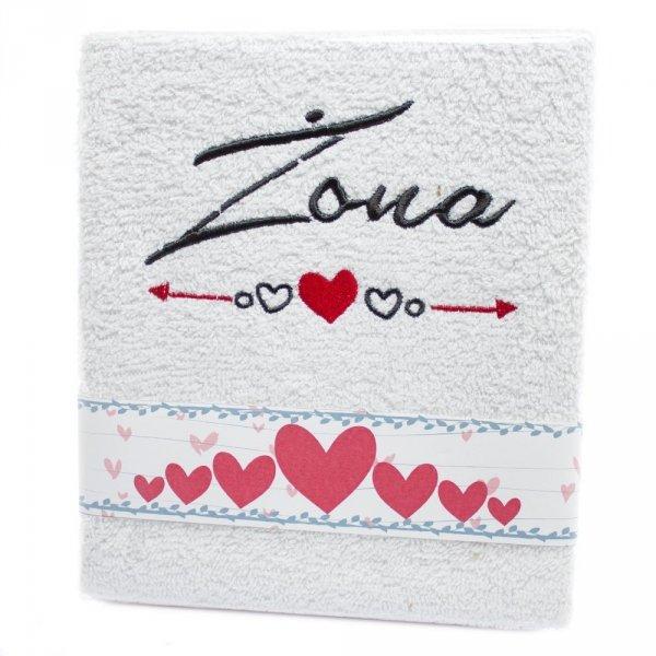 """Ręcznik haftowany """" ŻONA"""" , kolor biały"""
