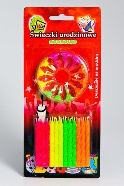 Świeczki Urodzinowe na podstawce NEON /24szt./