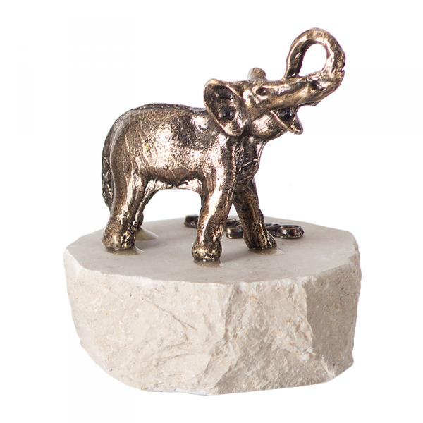 Figurka na szczęście, metalowy słoń na granitowym postumencie. Rozmiar 5x5 cm