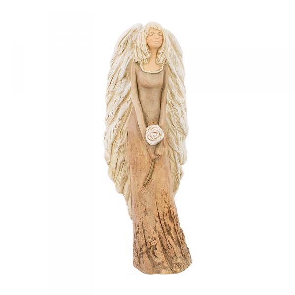 Figura gipsowa 'Belladonna z różą'. Kolor musztardowy. Średnica 10.5 cm. Wys. 43 cm.