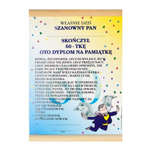 """DYPLOM KOLOROWY """"60 LAT PAN"""""""